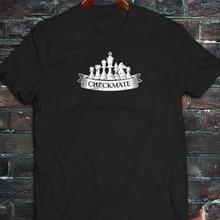 شيكميت الشطرنج الملك الملكة فارس بيدق استراتيجية رجل قميص أسود