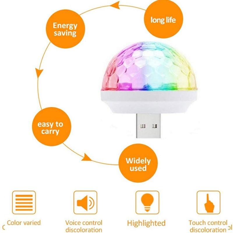 USB Light DJ RGB Mini Colorful Music Sound Light USB-C Apple Праздник Вечеринка Караоке Атмосфера Лампа Добро пожаловать Свет
