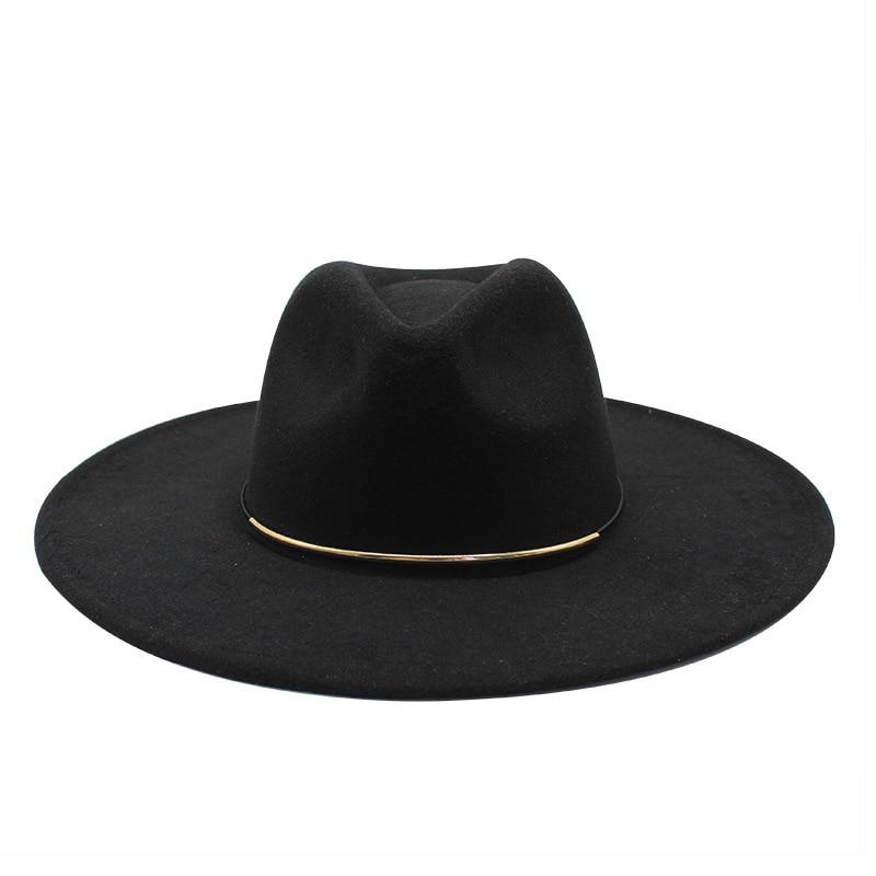 2021 Autumn Winter Big edge Wool Fedora Hat Wide Brim Women Faux Woolen Ladies Fedoras Jazz Hat Belt Caps Bowler Felt Hats