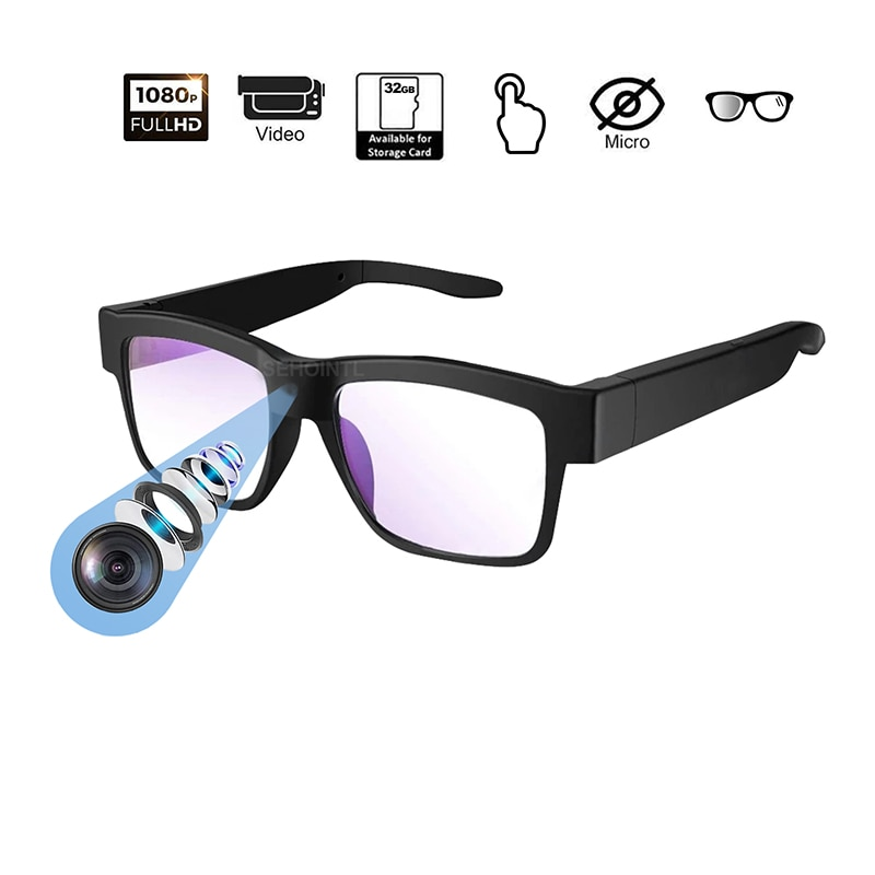 Camera Glasses 1080P HD Mini Camera Video Glasses Wearable Camera Use for Indoor and Outdoor Wireless Micro Camcorder Action Cam
