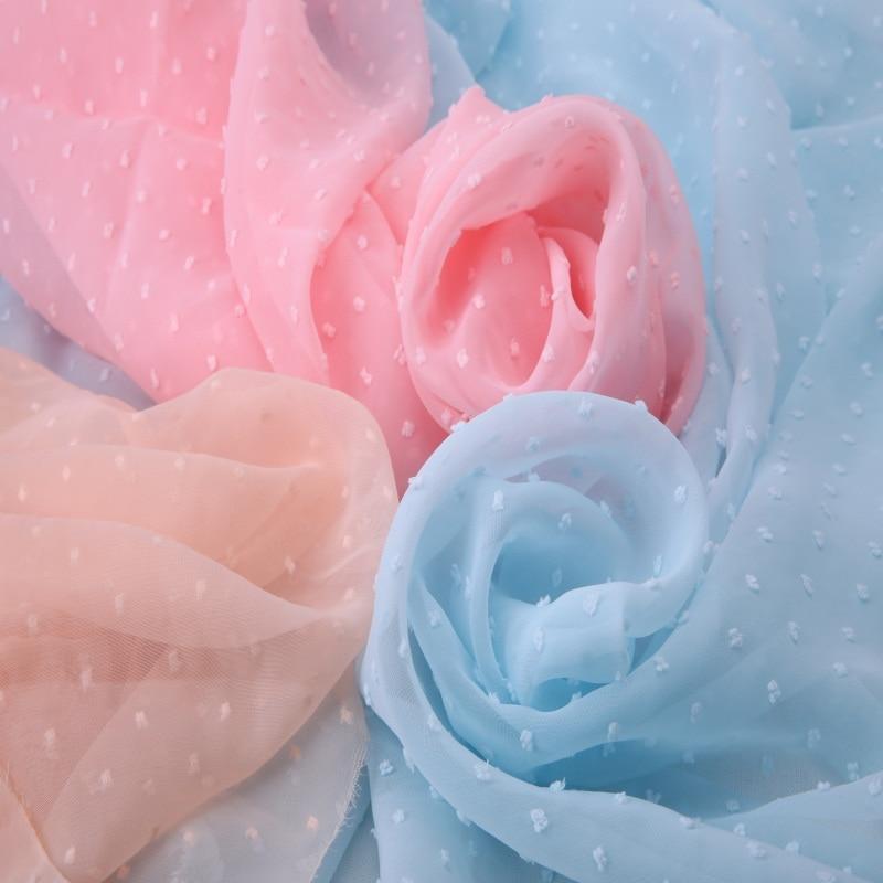 Suave con flores y puntos tela de gasa con estampado materiales de malla de tul vestidos de mujer blusa y cortina de manualidades DIY 1mX1.5m