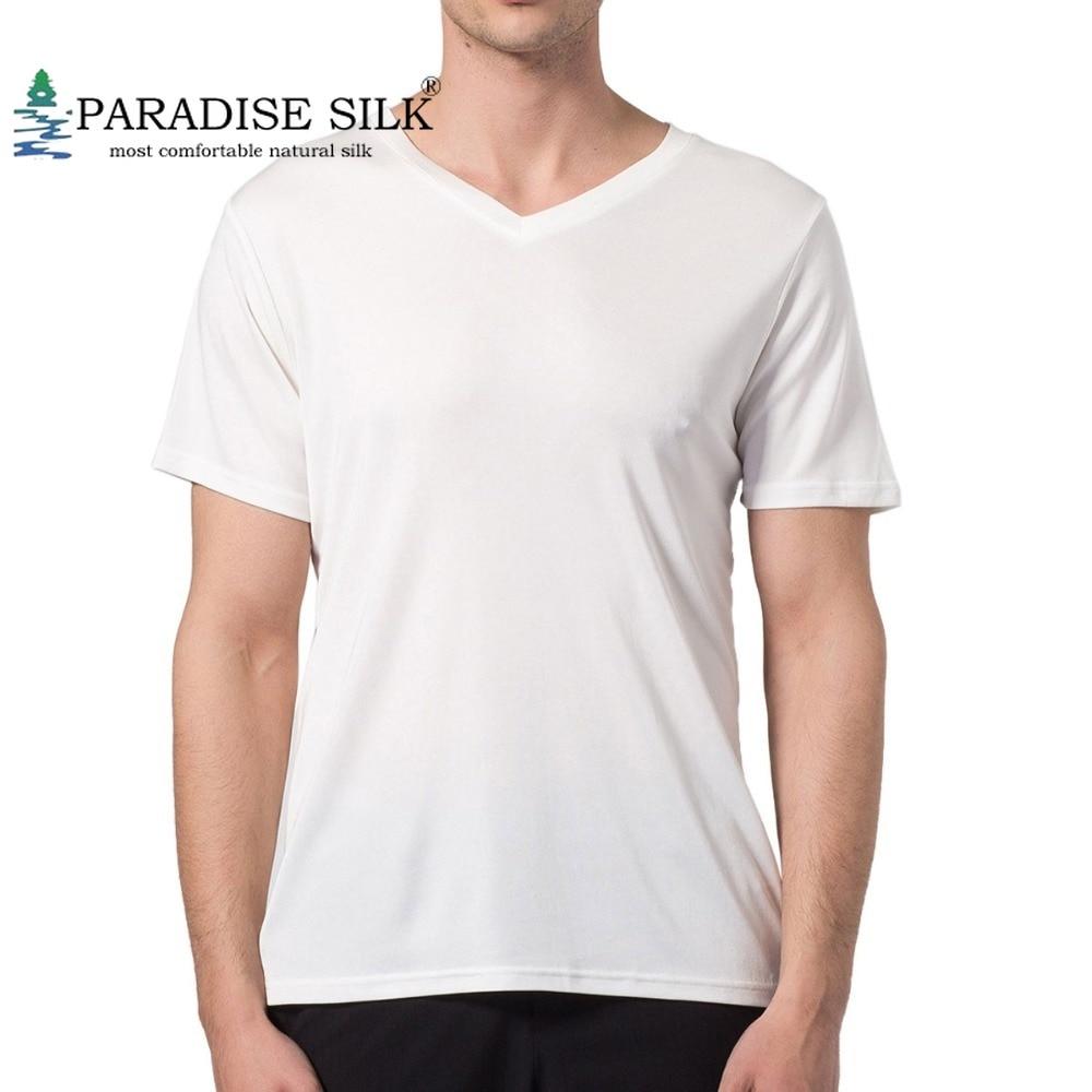 Special Offer Men's T Shirt 100% Pure Silk Knitted V Neckline Short Sleeves Top Solid Size L XL XXL XXXL