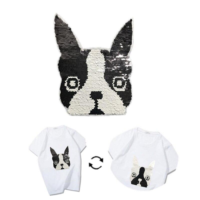 Parche de lentejuelas 220mm perro revertible y en distintos colores AB parches para Logo de ropa cosas extrañas pegatinas trato con la camiseta de abrigo