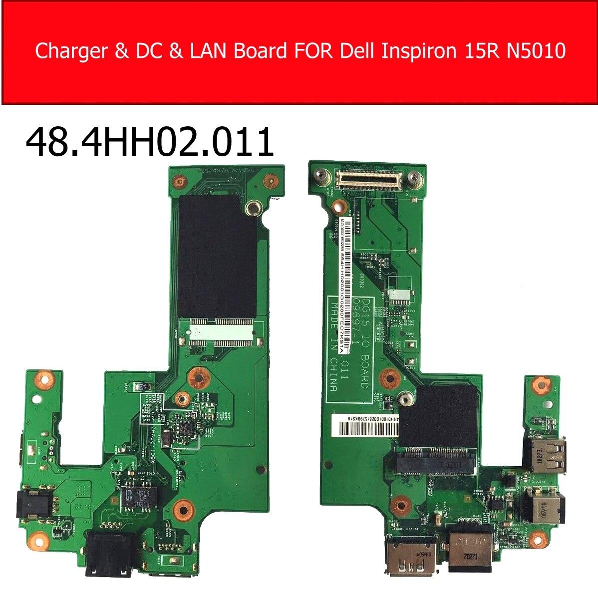 Placa de porta de carregador para dell, inspiron 15r n5010 dc porta & placa de lan ethernet usb placa de substituição 48.4jogo. 011