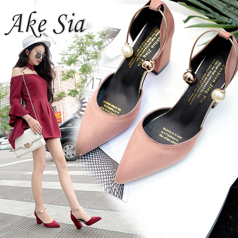 2020 new Korean version wild suede pointed high heels word buckle single shoes sexy comfortable trend ladies