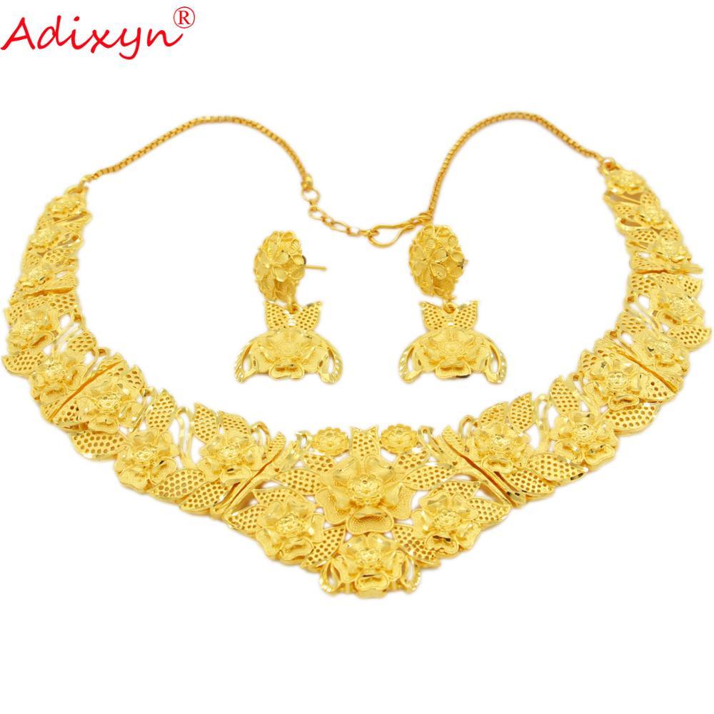 Adixyn-أقراط فاخرة على شكل سلسلة للنساء والفتيات ، مجوهرات ذهبية اللون ، هدايا احتفالية عربية أفريقية ، N12307