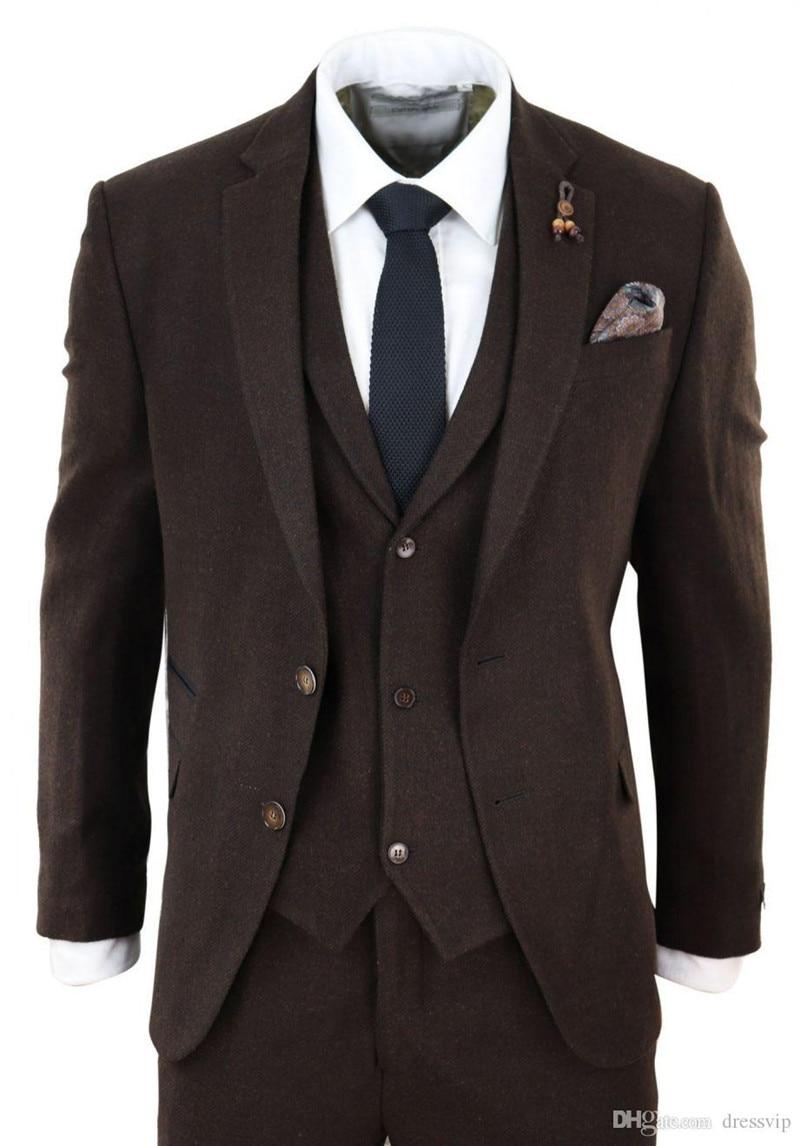 Traje de Tweed de espiga 3 piezas traje de Tweed de espiga a cuadros de lana para hombre Peaky Blinders traje de ajuste Tan delgado trajes de bodas para hombres