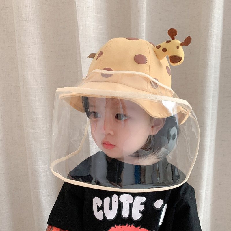 2 In1 Kids Summer Bucket Hat Removable Sunscreen Shield For Child High-quality Cute cartoon Giraffe Skin-friendly Baby Hats New