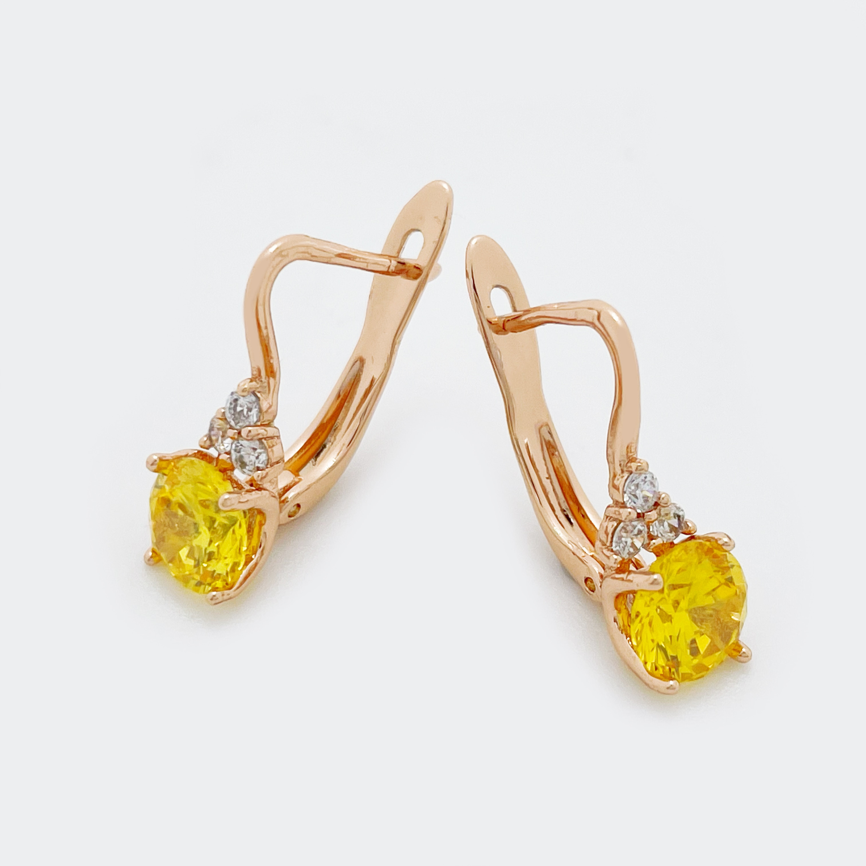 Новое поступление, женские модные милые ювелирные изделия с желтым камнем, розовое золото 585 пробы, Милые простые Популярные Уникальные висячие серьги