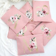 Bridesmaid Makeup Bag Floral Letter Print Cosmetic Bags Bridal Party Make Up Case Pouch Necessaries