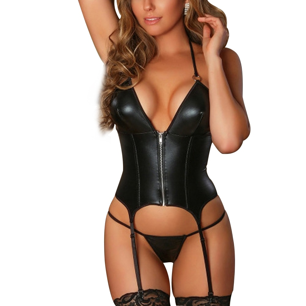 Sex Lingerie Woman Sexy Set Erotic Babydolls Zipper Underwear Thong With Garter Lenceria Set Porno T