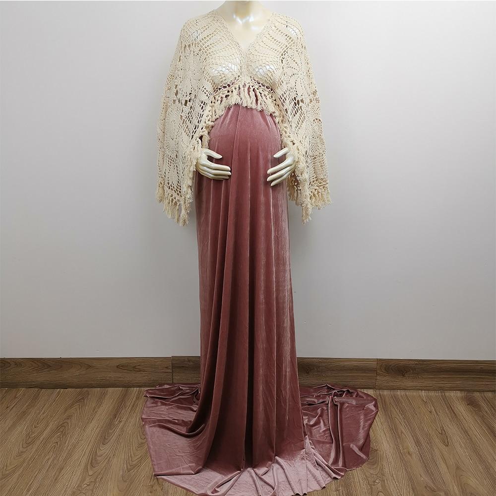 Don&Judy Boho Maternity Dresses Long Sleeve Pregnant Women Velvet Maxi Gown Party Dress Bohemia Pregnancy Dress for Photo Shoot enlarge