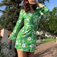 new women polo collar buttons shirt dress 2021 autumn summer elegant dress ladies floral print sexy slim high waist mini dresses