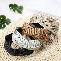 new fashion weaving women hair bands fashion hollow cross wide headbands for women girls elegant women hair accessories