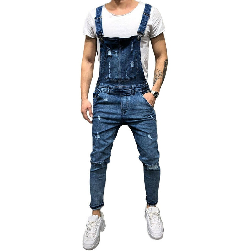 Men's Jeans overalls Pants joggers men jeans tirantes hombre para pant jeans for men black Casual Pants #w