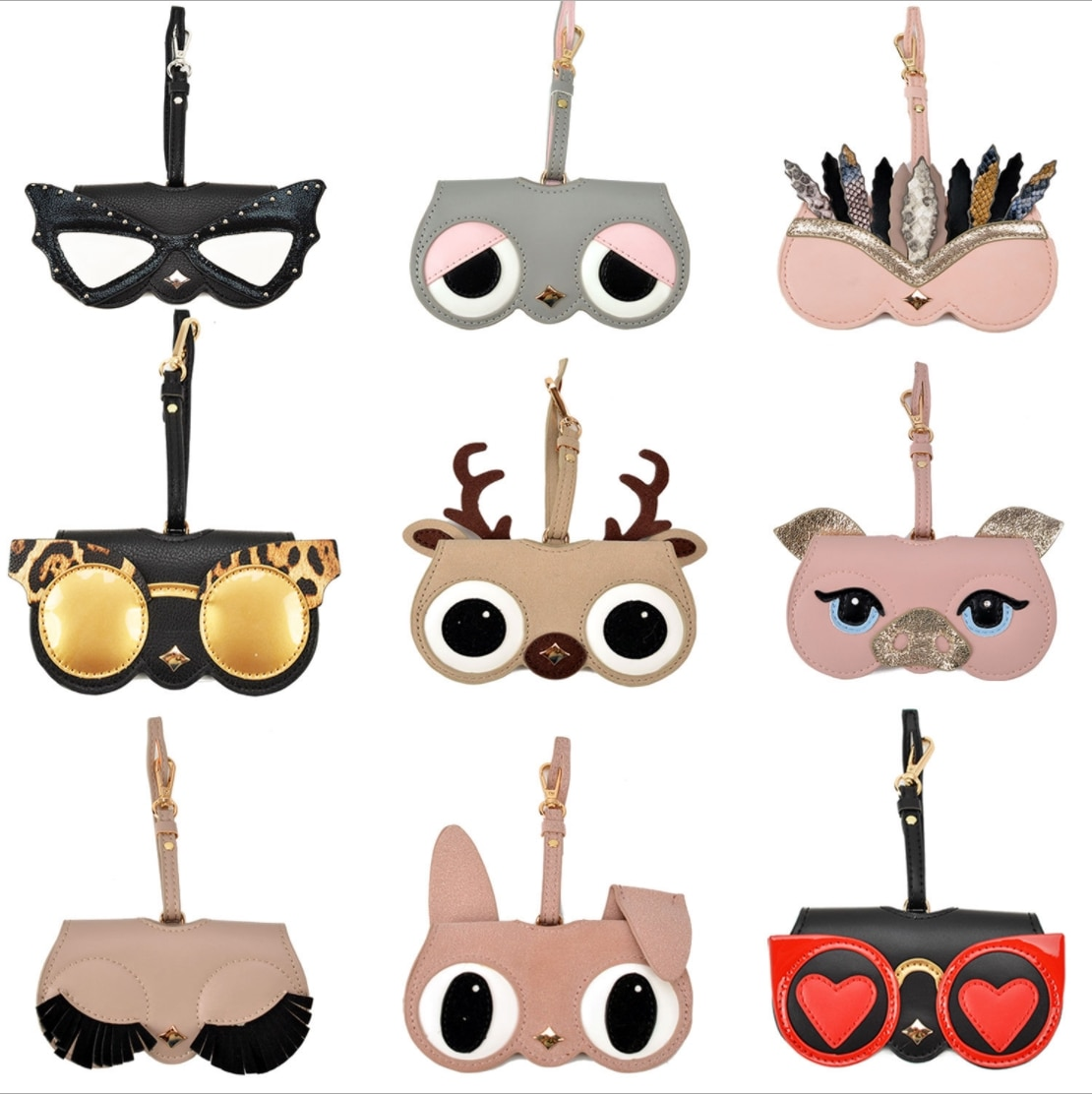 Cartoon High PU Leather Glasses Bag Multi-function Eyeglasses Case Women Sunglasses Storage Protection Cute Cover