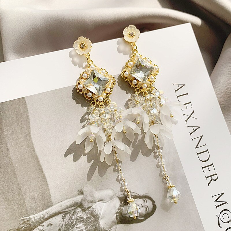 2019 nuevo estilo coreano Super Fairy lujo elegante largo cristal flor borla pendientes para joyería femenina