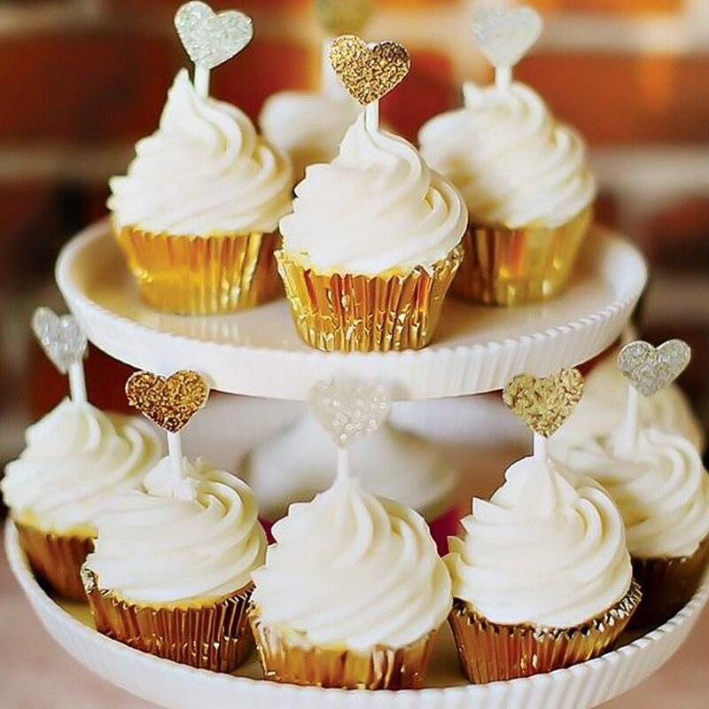 Hoomall 100 unids/lote de papel de aluminio grueso tazas Cupcake Liners Mini moldes para muffins para hornear bandeja de decoración de fiesta de boda