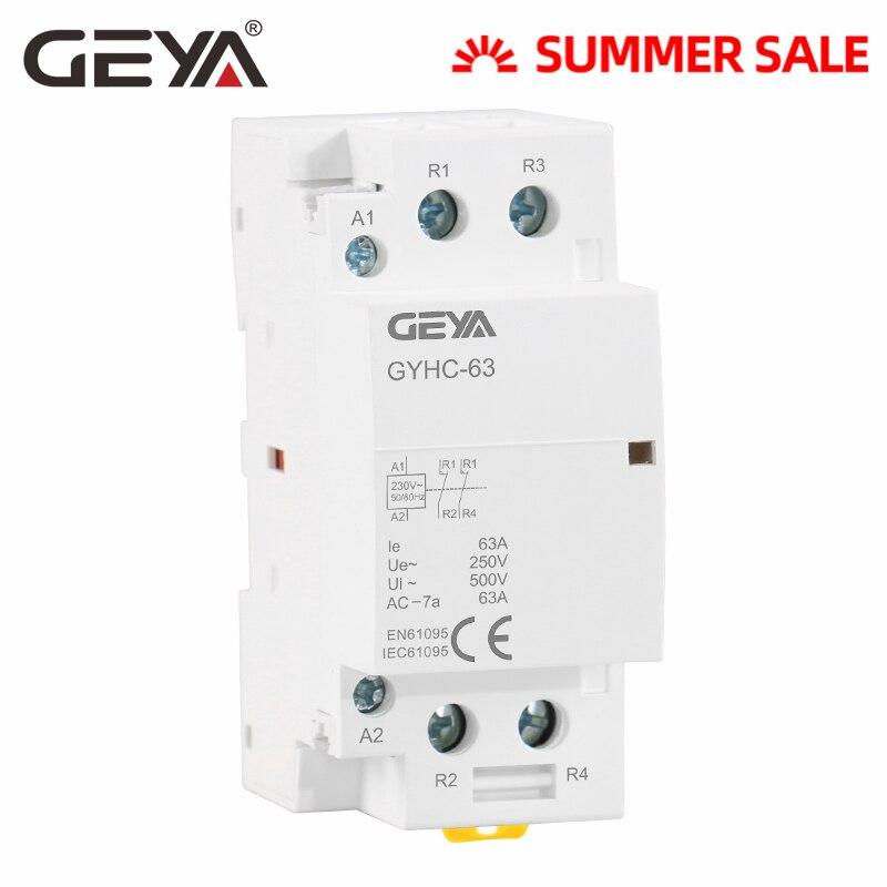 Envío Gratis, GEYA, 2P, 40a, 63a, 2NC o 2no, Contactor Modular de CA DIN Tipo de carril, AC220V, 230V, automático