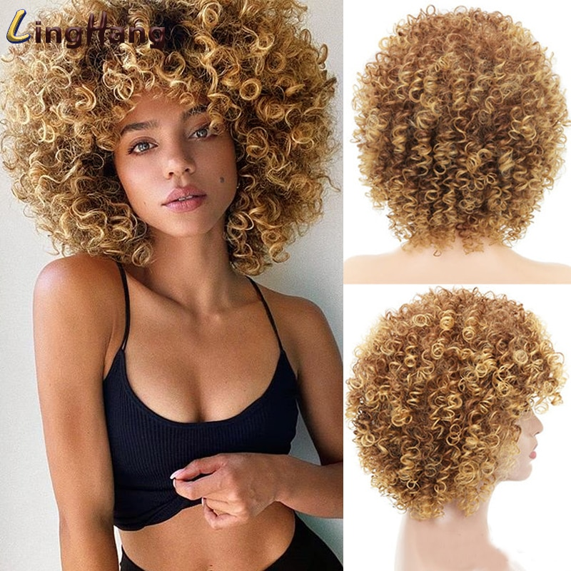 LINGHANG 14inch Short Kinky Curly Wig Afro American Wigs for Black Women Brown Mixed Blonde Synthetic Wigs with Bangs
