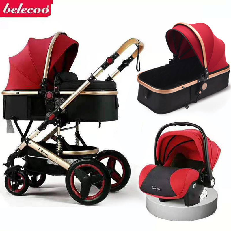 Luxurious Baby Stroller 3 in 1 Portable Travel Carriage Folding Prams Aluminum Frame High Landscape Car for Newborn Buggy