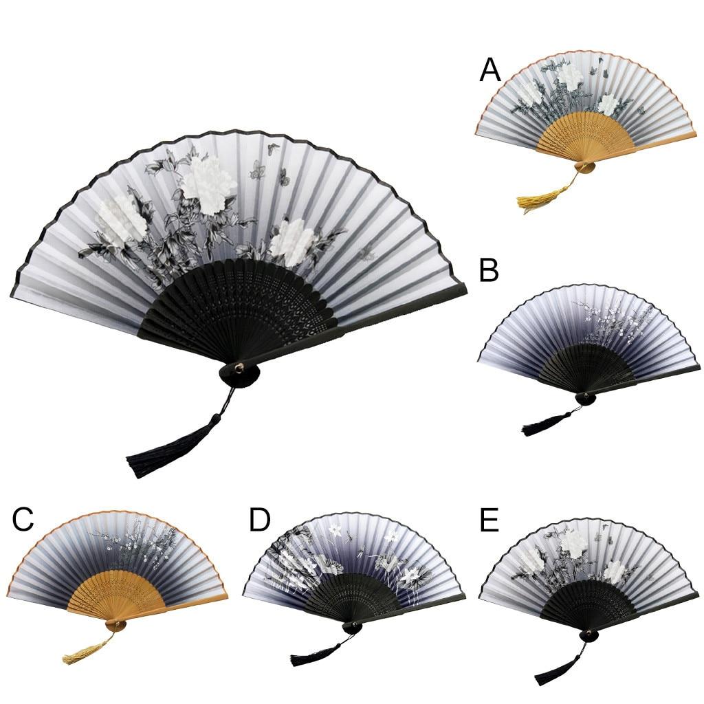Los ventiladores plegable De los Abanicos De bambú De las mujeres hueco...