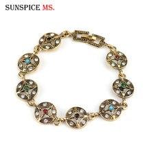 Sunspicems Elegante Bohemen Kristal Armband Voor Vrouwen Retro Goud Zilver Kleur Vintage Tibet Link Chain Armband Party Gift