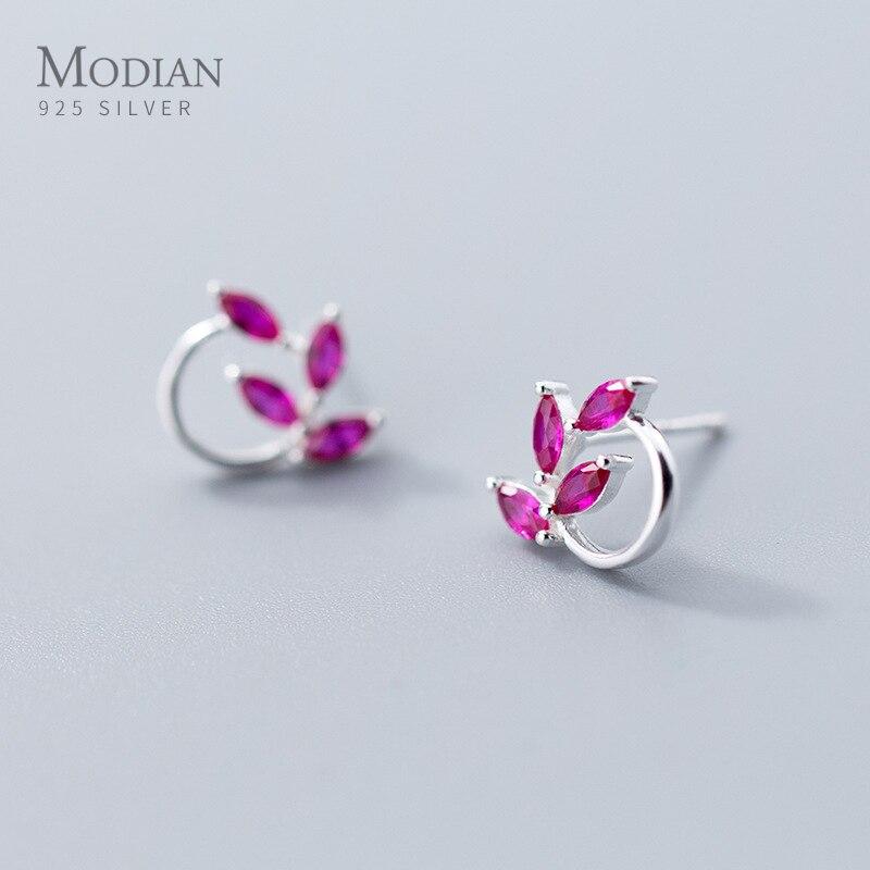 Pendientes de circonia cúbica Modian de 2 colores 100% Plata de Ley 925 moda rombo CZ pendiente para mujer joyería fina de plata