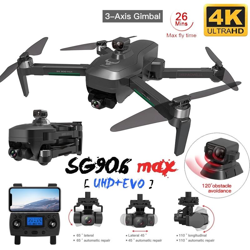 Sg906max/pro2 gps zangão 4k hd câmera desvio de obstáculos função 3 eixo cardan 5g wifi fpv profissional rc quadcopter dron
