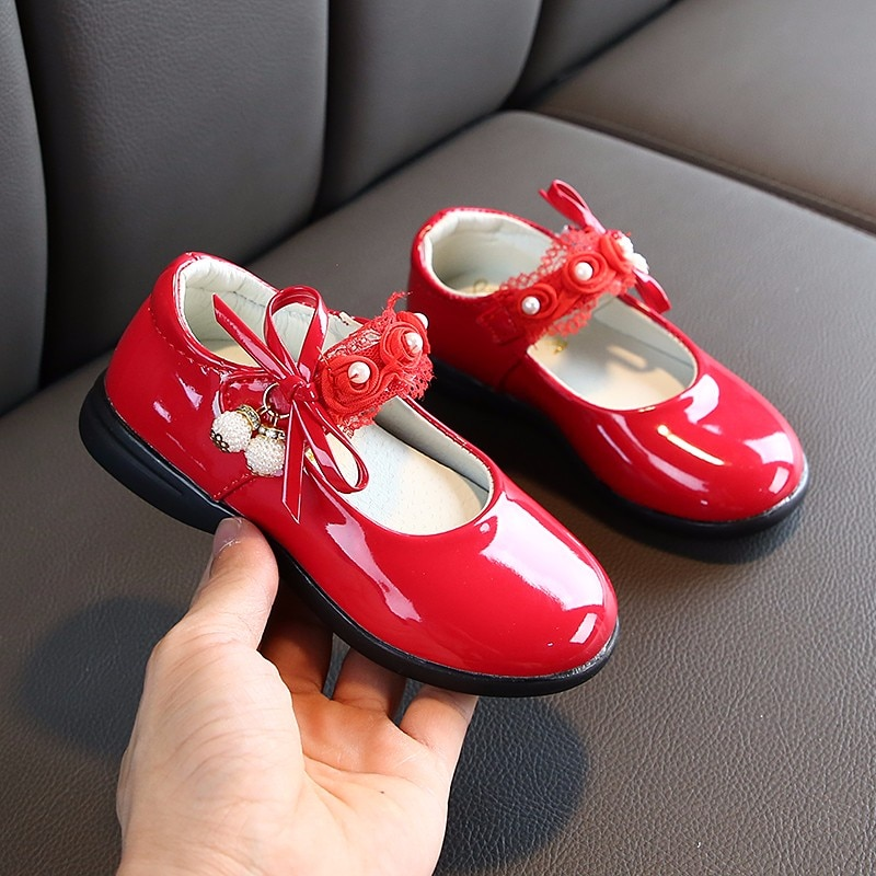 Zapatos de fiesta de princesa con lazo para niñas pequeñas con cuentas de flores para boda, zapatos grandes de cuero para niños 3 4 5 6 7 8 9 10 11 12 años