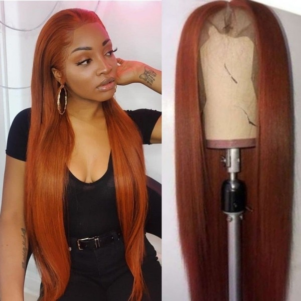 Ginger Color 13x5 Lace Front Natural Looking Wigs Long Straight Brazilian Human Hair Pre Plucked 13x5 Lace Front Wig 180 Density
