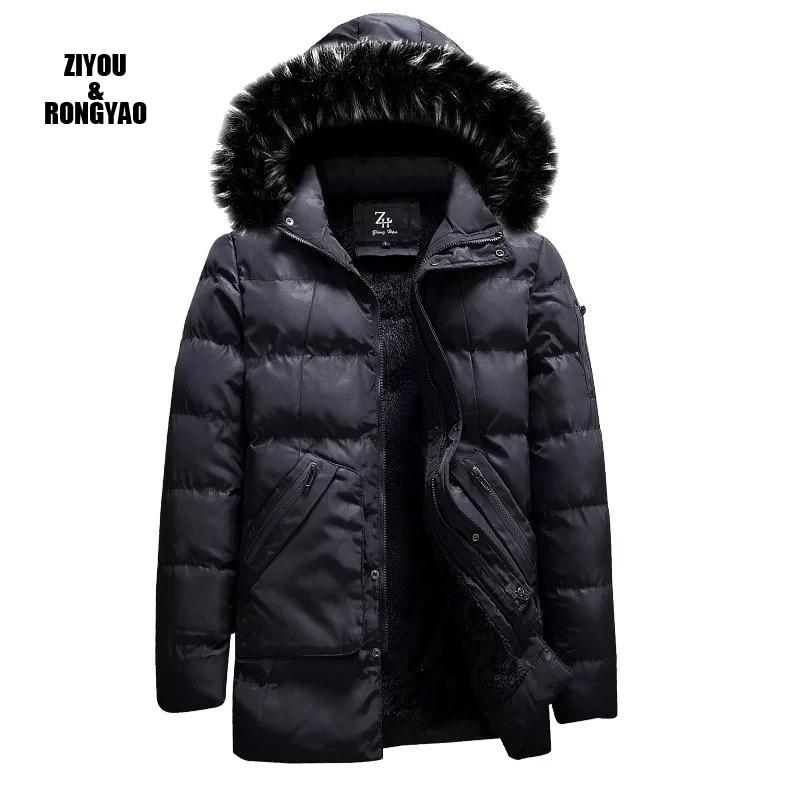 Зимние ветрозащитные парки для мужчин, однотонные парки, мужские повседневные куртки с хлопковой подкладкой, утепленные пальто, пальто, теп...