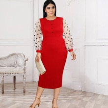 Bodycon Dress Red O Neck Office Polka Dot Color Block Dresses Plus Size 2XL Evening Party Robes Drop