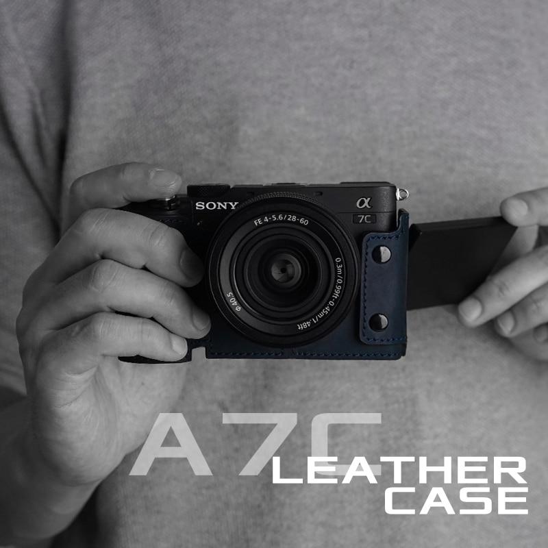 MrStone سوني A7C حافظة كاميرا مصنوعة يدويا أغطية جلد طبيعي اكسسوارات