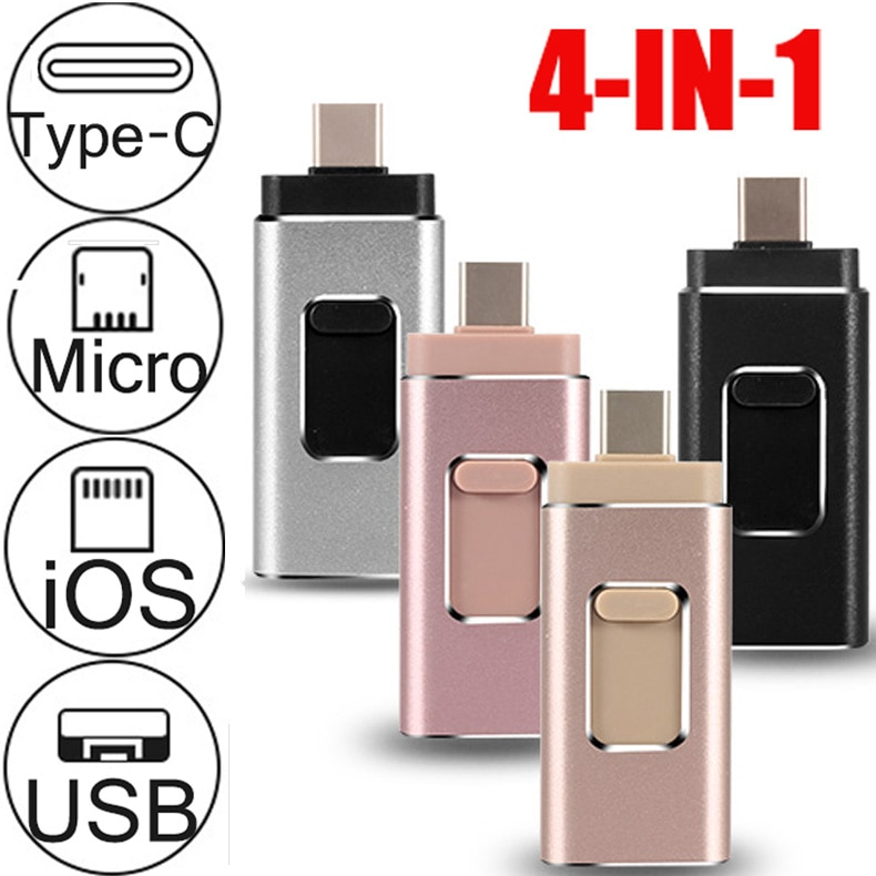 Memoria USB OTG IOS, el primer Pendrive 4 en 1 para iPhone/IOS/tipo-c/Android/PC 256GB 128GB 64GB 32GBpen, unidad usb 3,0