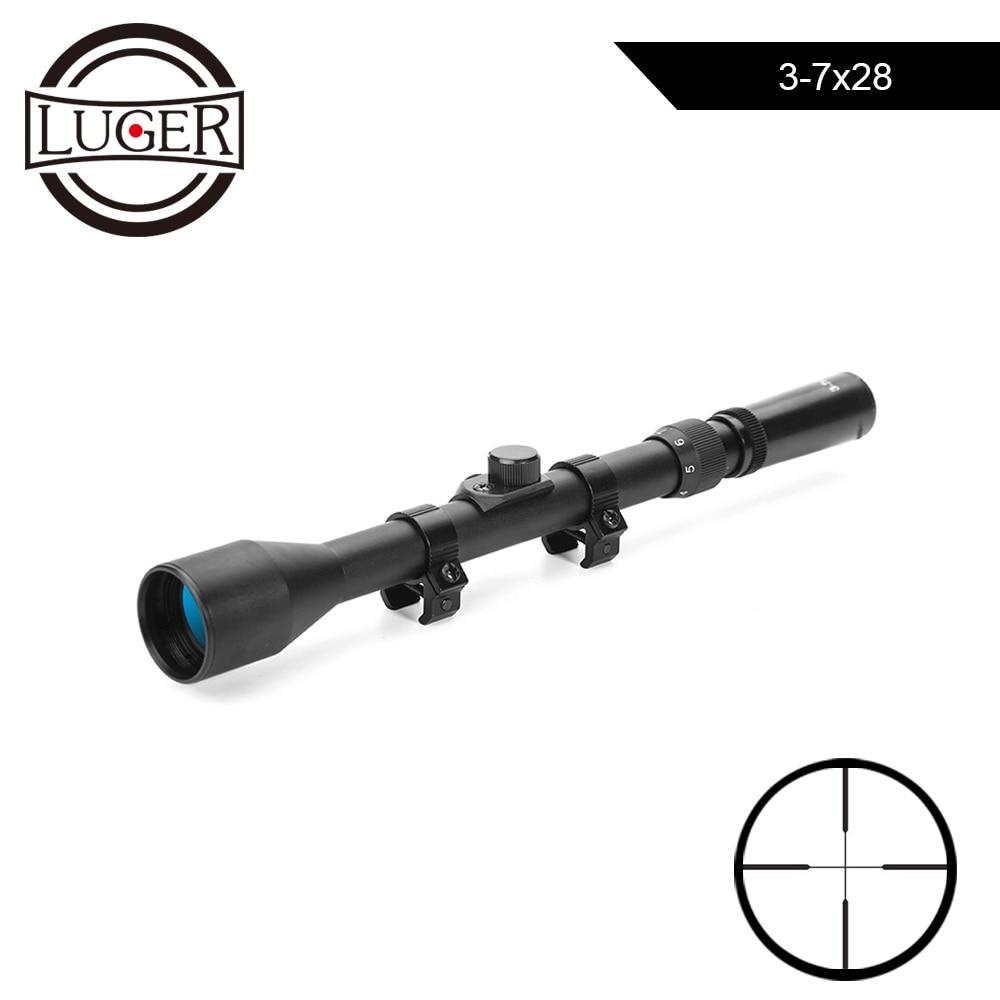 3-7X28 Hunting Optics Rifle Scope Tactical Crossbow Scope 11mm Rail Mounts Air Rifle Telescopic Sniper Airsoft Guns Rifle Scope