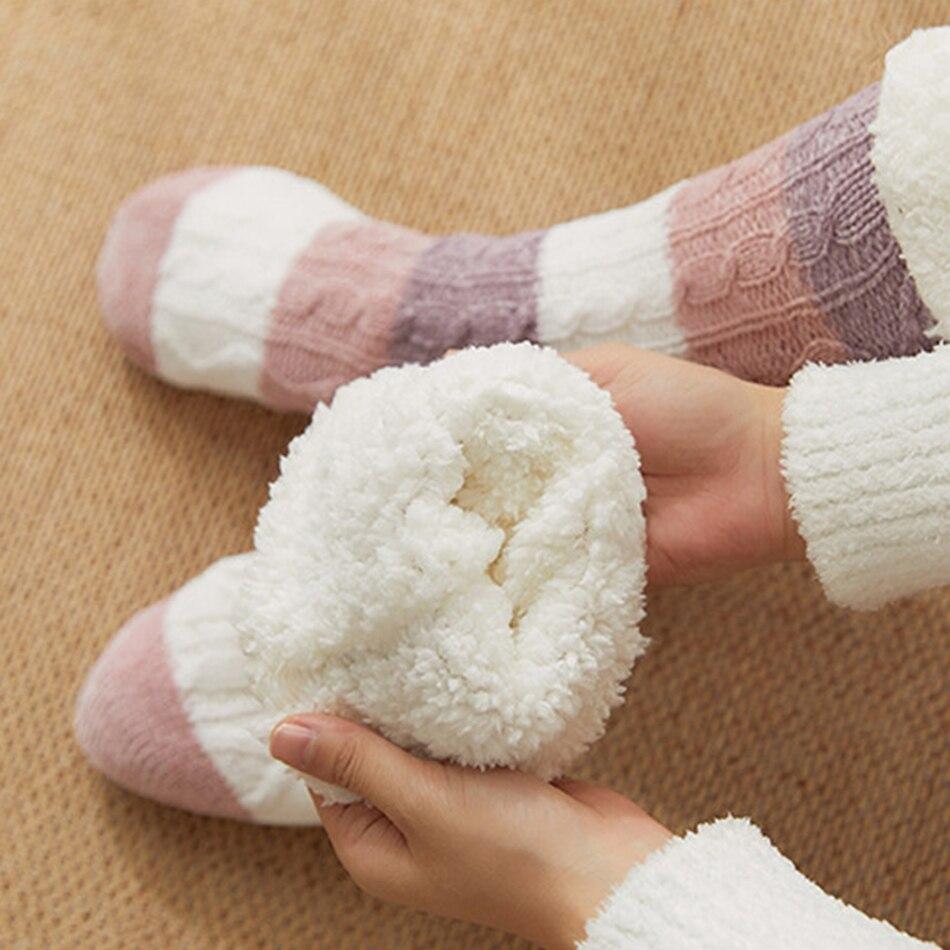 CHYAOWU плюшевые толстые теплые Нескользящие женские носки в полоску теплые высокие носки для сна на осень зиму новогодние носки подарки