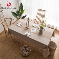 bubble kiss cotton and linen tablecloth for home small fresh style round table cloth anti stain dinning table tassel decor cover
