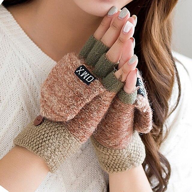 2020 Winter Warm Wool Gloves Fashion Design Fingerless Glove Knitted Flip Flexible Exposed Finger Thick Gloves Mittens Men Women