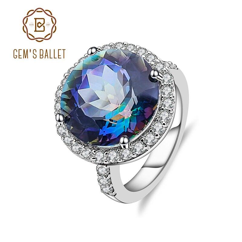 جوهرة Balle 13.0Ct الطبيعي Blueish الصوفي الكوارتز 925 فضة كوكتيل خواتم غرامة مجوهرات للنساء الزفاف الخطوبة