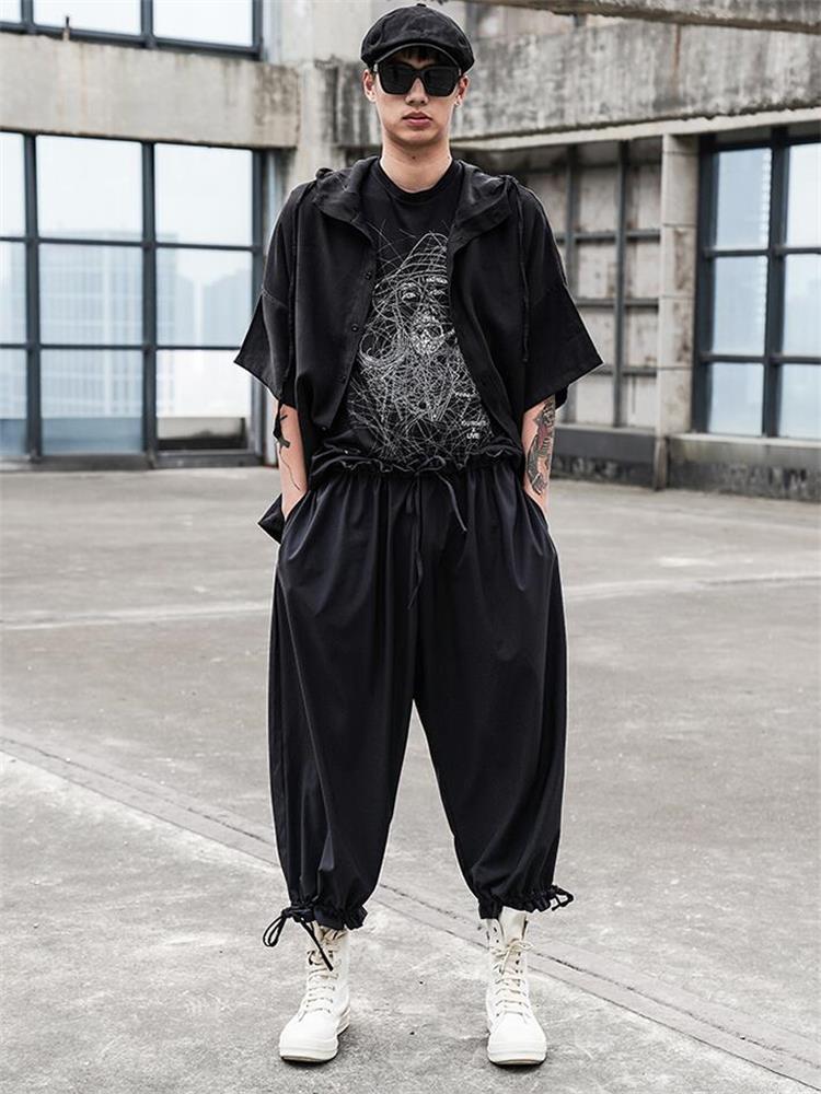 بنطال رجالي غير رسمي جديد كلاسيكي ياباني داكن مقاس كبير فضفاض كبير الحجم للرجال حبل بنطال ذو قصة أرجل واسعة