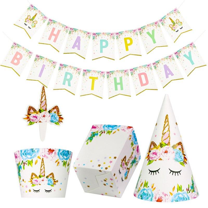 Arcoíris unicornio Cupcake envoltorios torta Topper unicornio fiesta de cumpleaños tirar bandera niños unicornios para la ducha caja de palomitas