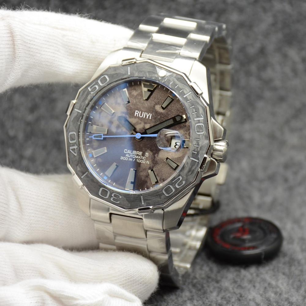 جديد كلاسيكي الرجال التلقائي الميكانيكية التقويم ساعة الفولاذ المقاوم للصدأ ألياف الكربون الحافة ساعة ياقوت AAA + 44 مللي متر أكثر اللون