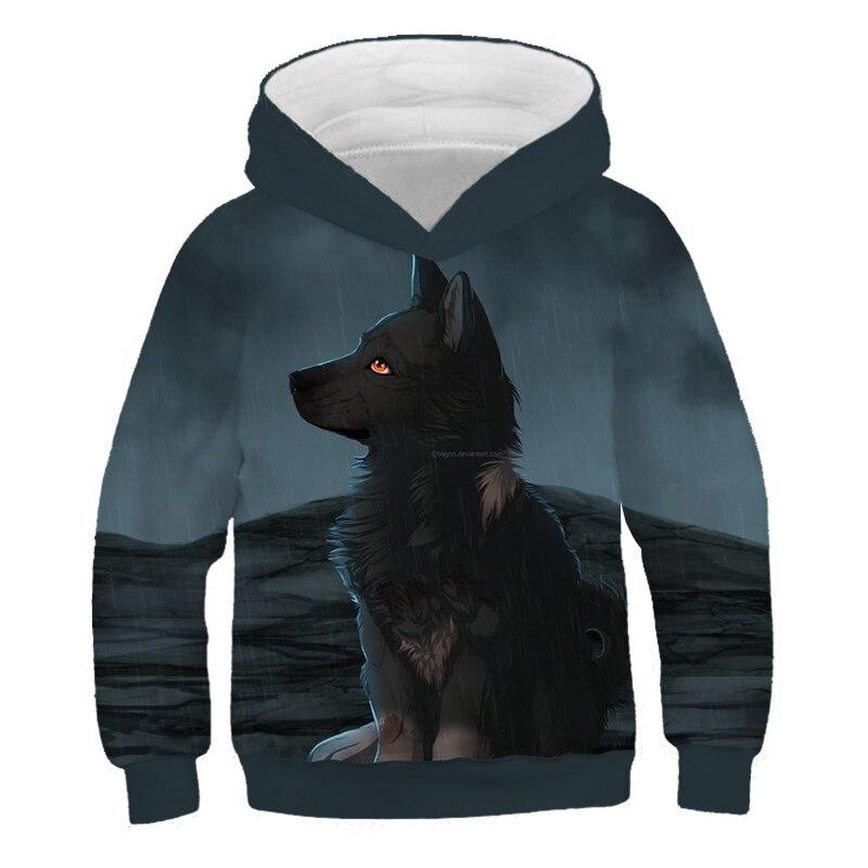 3D Bosque Oscuro Lobo Gilrs ropa de niños 2019 nuevo Otoño de manga larga chaqueta sudadera con capucha Tops ropa niños sudaderas con capucha sudaderas