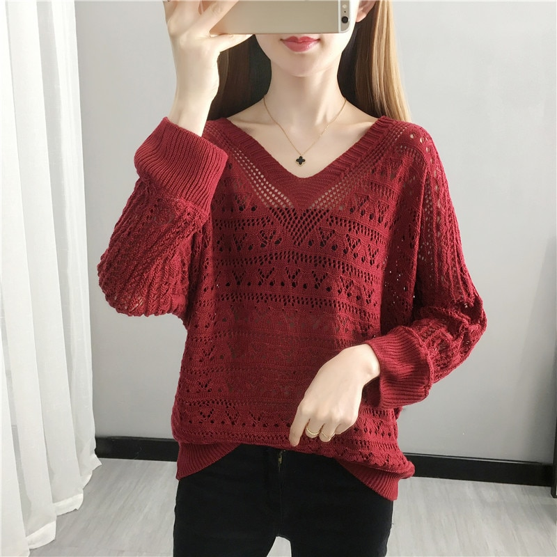 2021 spring new women's V-neck hollow out knitwear trend loose top