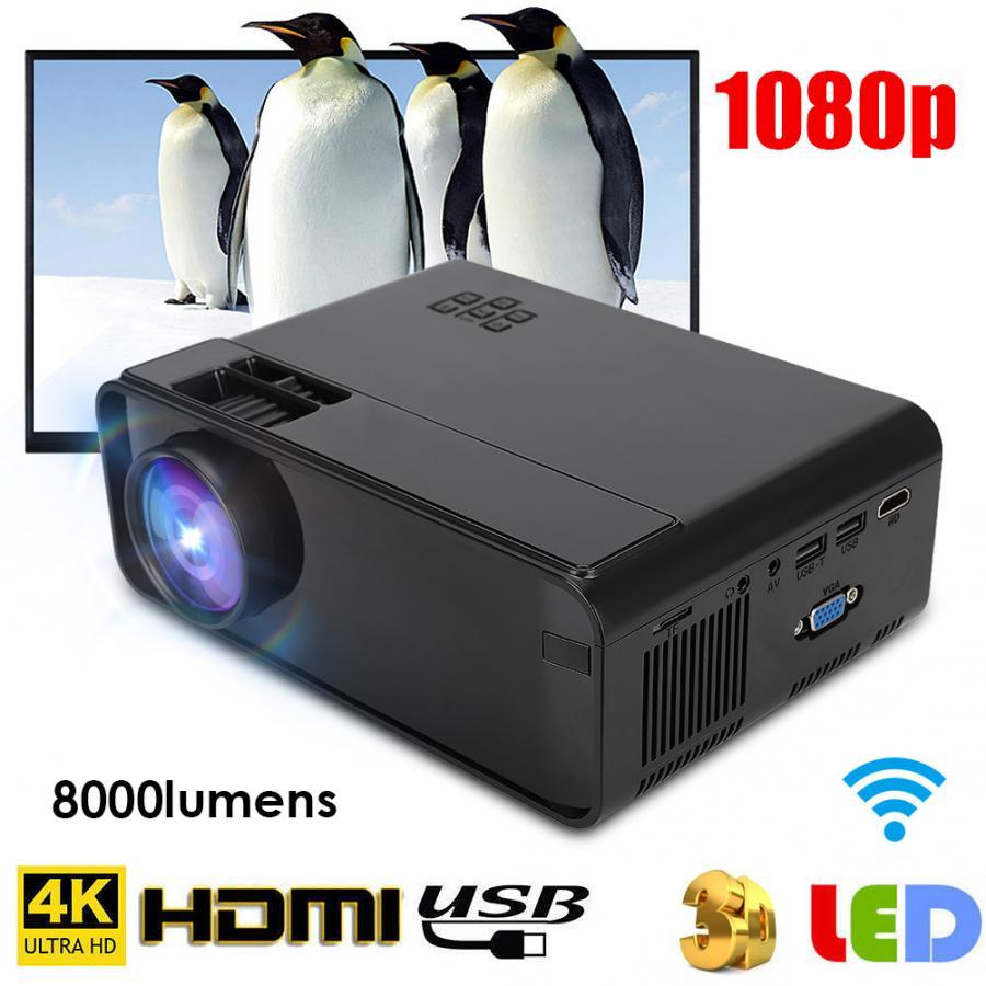 Multimedia home theater UHD 4K WiFi Bluetooth 3D HD 1080P LED Projetor Mini Projetor HDMI TV cinema 480p para a Versão Android