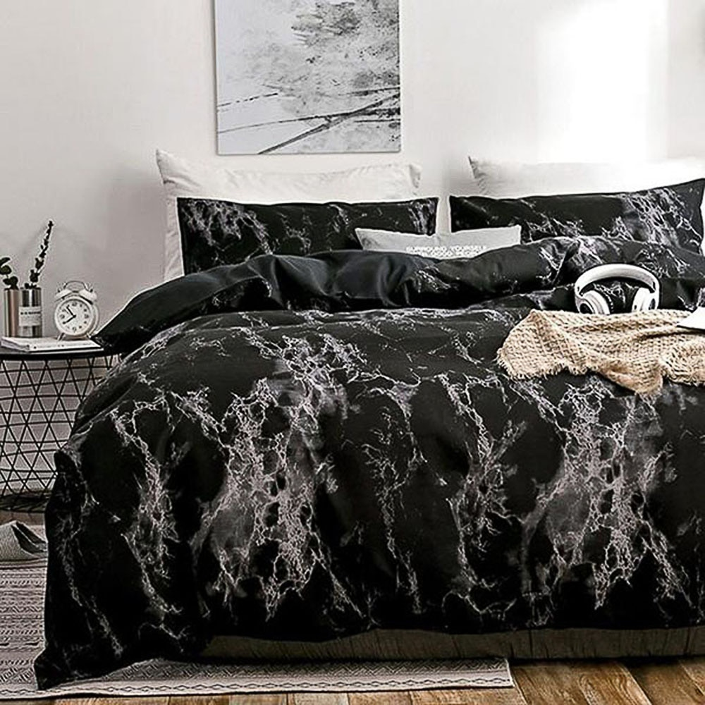 Nordic Modern Style Marble Pattern Printed Duvet Cover Set With Pillowcase Bedding Set Double Full Queen King Size Bed 5 Colors