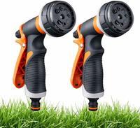 2 garden hose nozzles 8 adjustable hose spray guns-high pressure manual sprayers for lawn watering car washing pet bathing
