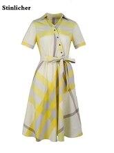2020 printemps été mode à manches courtes plaid chemise robe femmes élégant mince bureau dames tunique robe de soirée femme