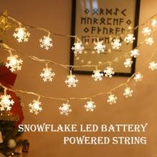 Led Sneeuwvlok Fairy Light String 10 Leds Batterij Aangedreven Kerst Lamp Garland Xmas Tree Nieuwjaar Thuis Opknoping Decor Navidad